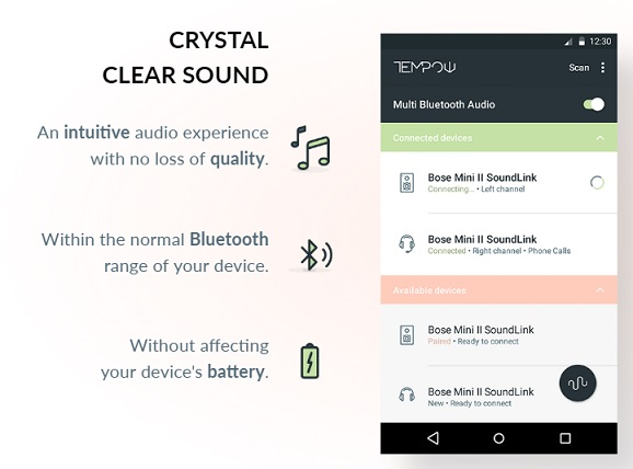 Stream audio from phone to multiple Bluetooth speakers or